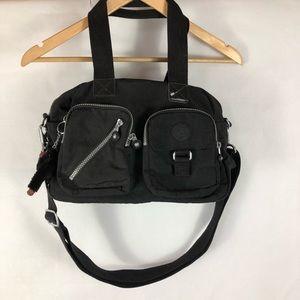 Kipling crossbody Purse Black with silver zippers